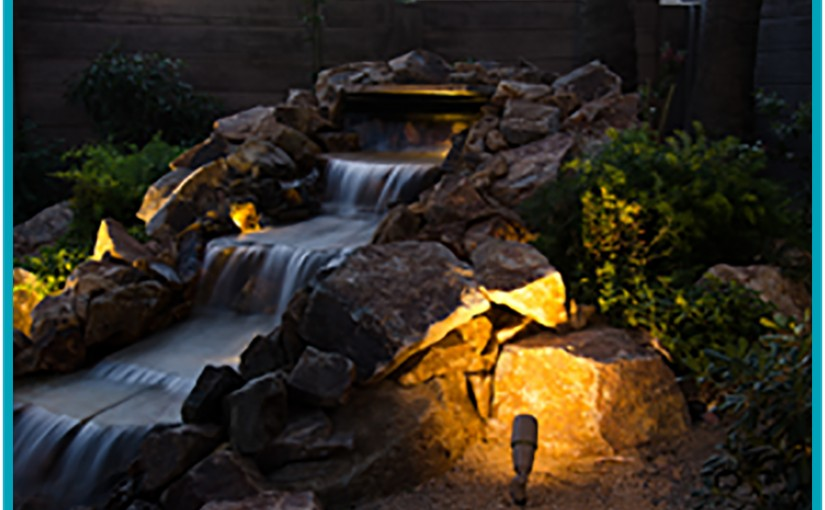 Natural water falls and low voltage lighting in Las Vegas