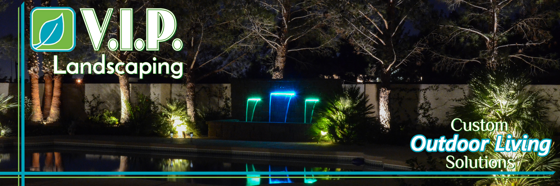 Low voltage lighting multi-color lights around pool area incorporated with the back-yard landscaping