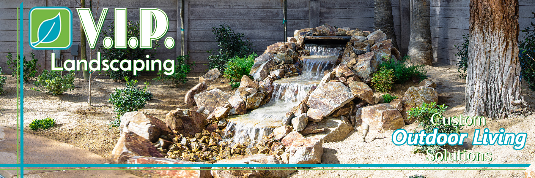 Custom built back-yard water falls in Las Vegas