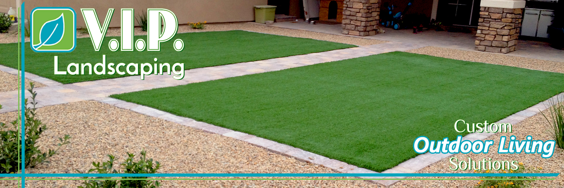 Artificial turf and grass combined with landscaping gravel rock and desert landscaping