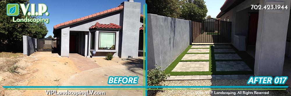 Complete landscape back yard: before and after