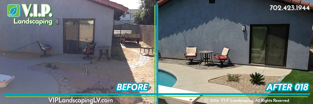 Complete landscape back yard with pool: before and after