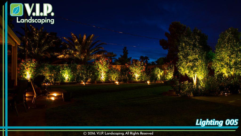 Back yard lighting low voltage in new landscape