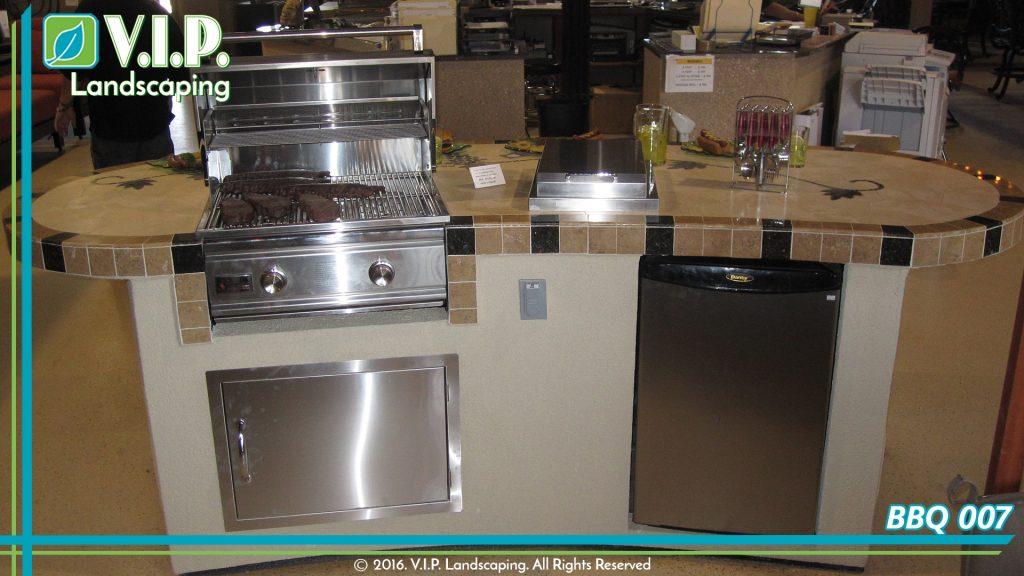 Outdoor kitchen set. Stainless steel bbq. Granite countertop