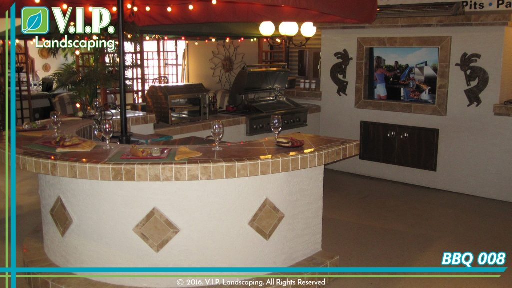 Outdoor kitchen grill and barbeque. Granite tops and conventional oven